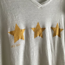 Load image into Gallery viewer, My Izzy Linen Tee Gold Stars WHITE