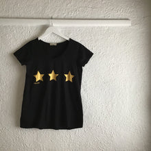 Load image into Gallery viewer, myizzi V Neck Tee Blk gold Stars