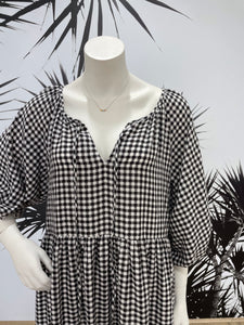One Two Melbourne Maxi Dress BLACK GINGHAM