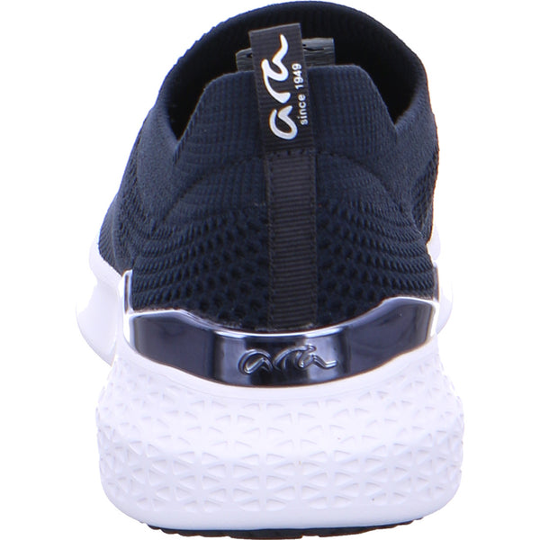 Ara Ladies Woven Stretch Slip On Sneaker Navy