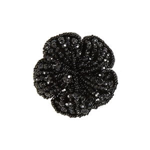 Alani Flower Shaped Black Beads Shoe Trim