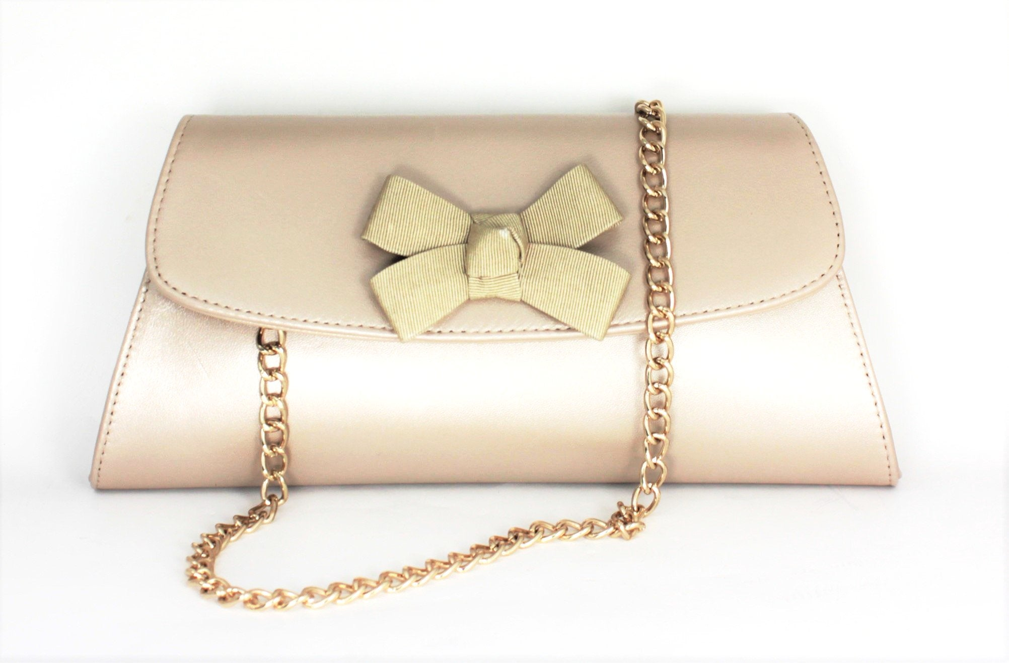 Claudia With Ribbon Bow Trim Clutch Bag