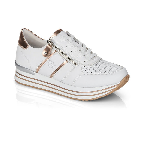 Remonte Ladies Double Sole Zip Sneaker White
