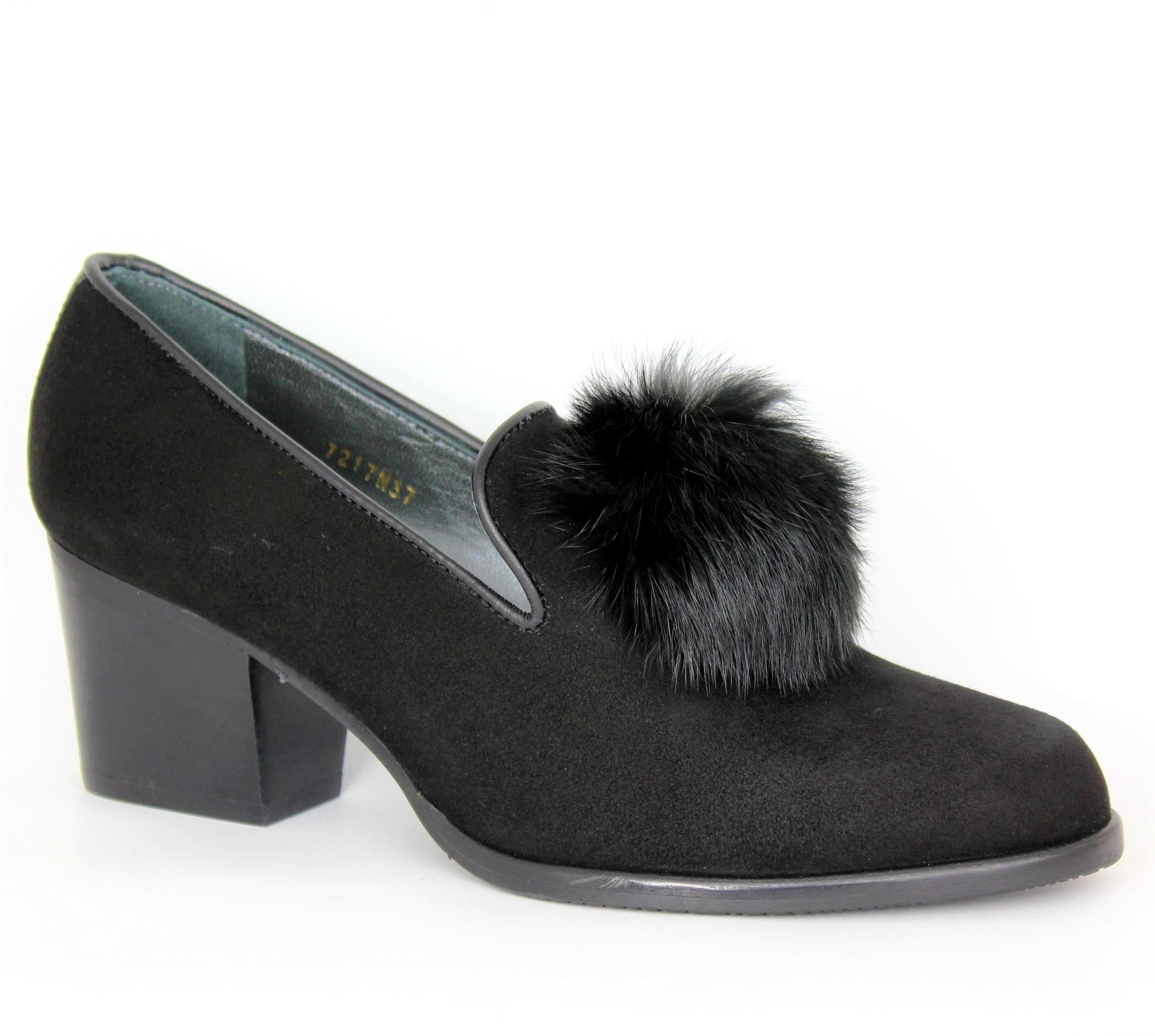 Block Heel Pom Pom Loafer