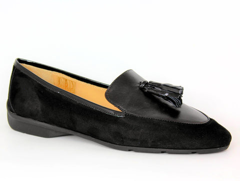 Low Heel Suede And Leather Tassel Loafer