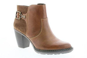 Mid Heel Ankle Boot With Buckle Detail
