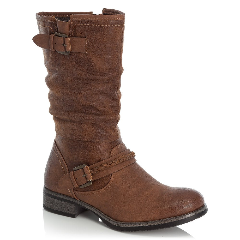 Mid Calf Length Low Heel Boot With Buckle Trim
