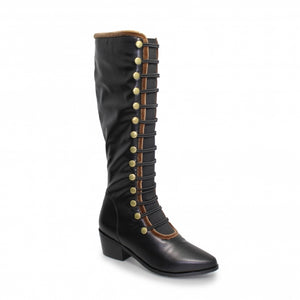 Elba Long Military Style Knee High Boot
