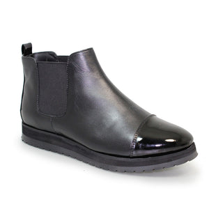 Plum Patent Toe Leather Ankle Pull On Boot