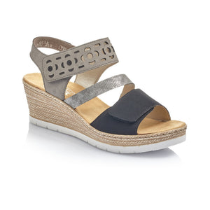 Rieker Ladies Mid Heel Wedge Sandal 619D1-00
