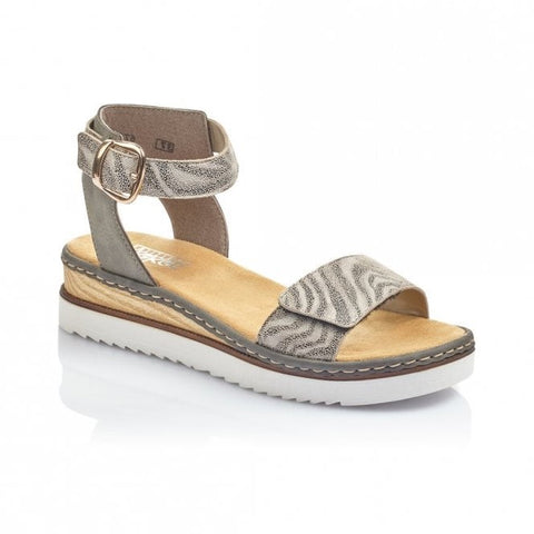Rieker Ladies  Low Wedge High Back Sandal