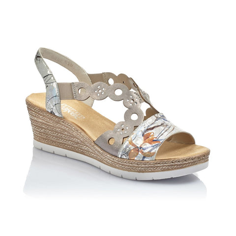 Rieker Ladies Mid Heel Wedge Sandal 619D6-90 offwhite/Metallic/grey