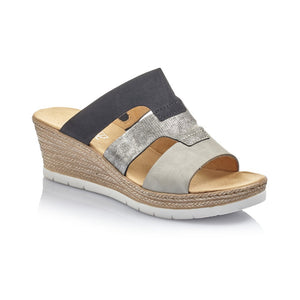Rieker Ladies High Wedge Heel Slip On Mule Sandal 619P7-40