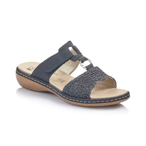 Rieker Ladies Navy Blue Slip On Mule Sandal