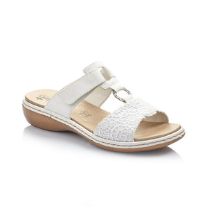 Rieker Ladies Adjustable White Mule Sandal