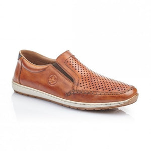 Rieker Mens Slip On Shoe Tan