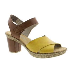 Block Heel Cross Over Strap Leather Sandal