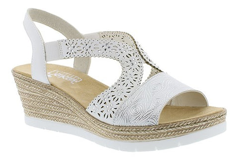 Mid Heel Wedge With Stencil Cut Detail Sandal
