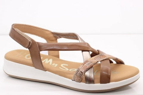Oh My Sandals Ladies Soft Leather Sandal Taupe