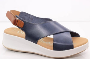 Oh My Sandals Ladies Flat form Sling Back navy