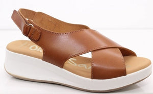 Oh My Sandals Ladies Flat form Sling Back Tan