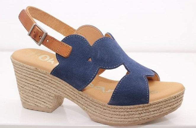 Oh My Sandals Ladies Navy Suede Sandal