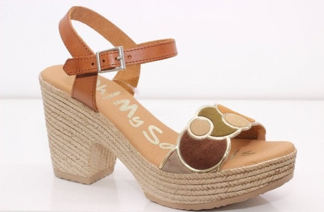 Oh My Sandals ladies Multi Suede Sandal Tan