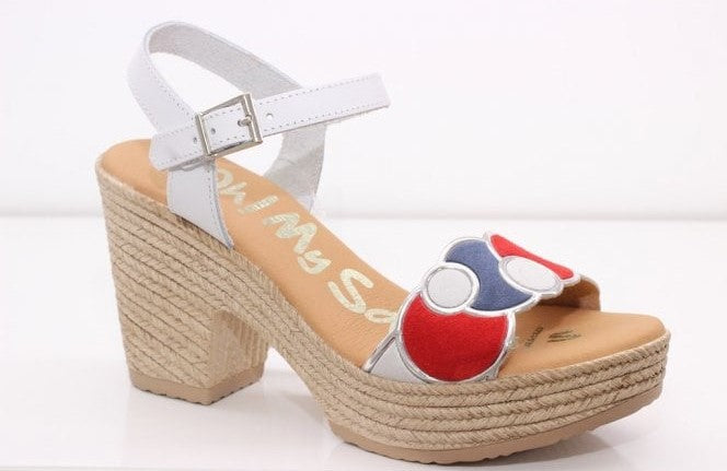 Oh My Sandals Ladies Multi Suede Sandal White