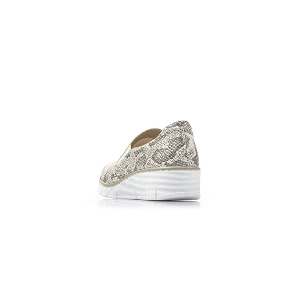 Rieker Ladies Snake Print Slip On Shoe Grey