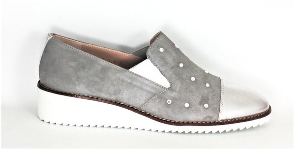 Wedge Heel Loafer With Diamante Trim