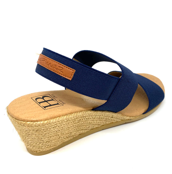 HB Shoes Ladies Sandy Navy Mid Wedge Heel Elastic Strap Sandal