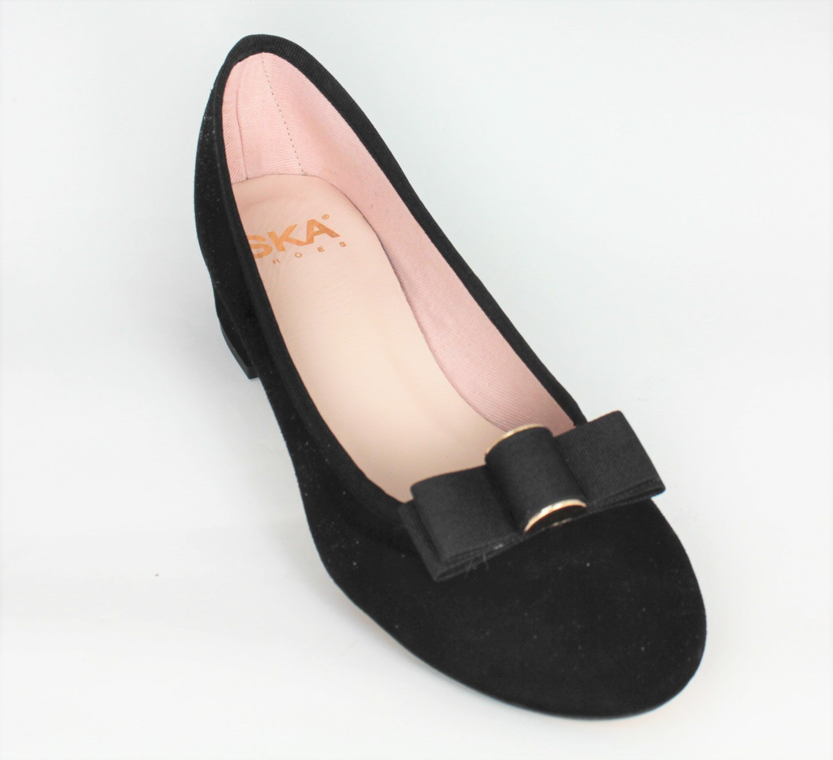 Roger Suede Low Heel Court Shoe With Ribbon Trim