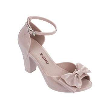 Diva Bow Peep Toe High Heel Shoe With Ankle Strap