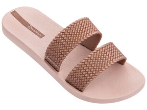 City Slide Slip On Slider With Woven Look Straps