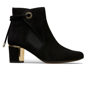 Langton Suede Mid Heel Boot With Back Tie Detail
