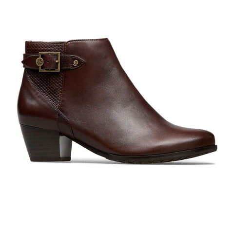 Dawson Mid Heel Boot With Strap And Patterned Insert