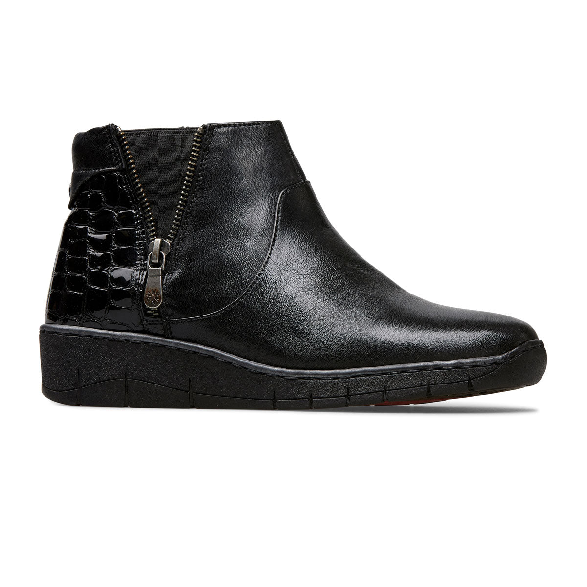 Guthrie Low Wedge Heel Boot With Zip Trim