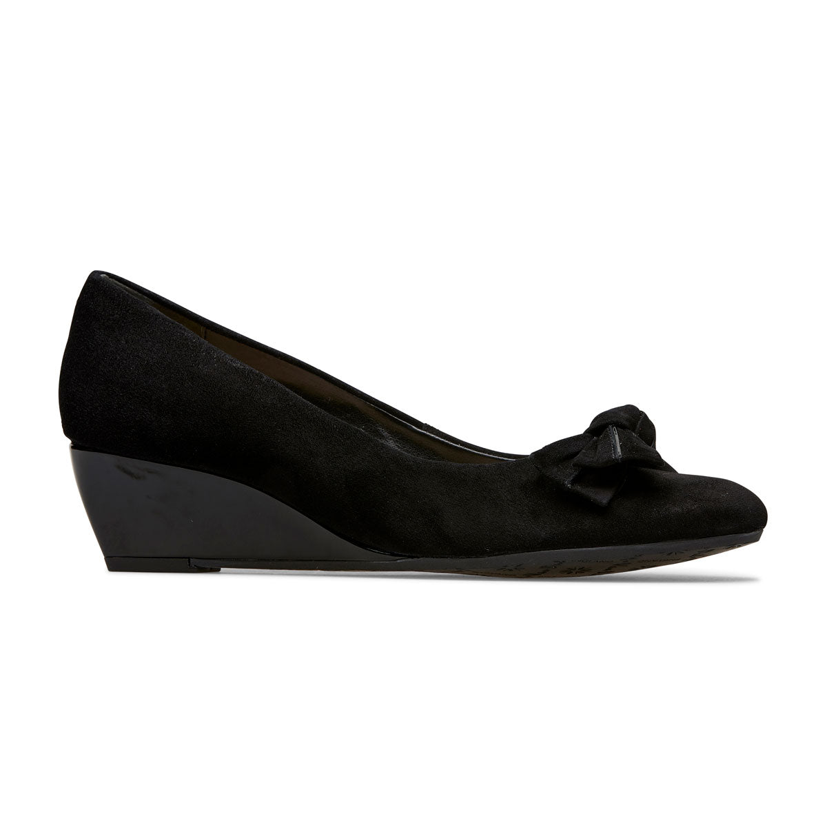 Bourne Mid Wedge Heel Court Shoe With Bow Detail