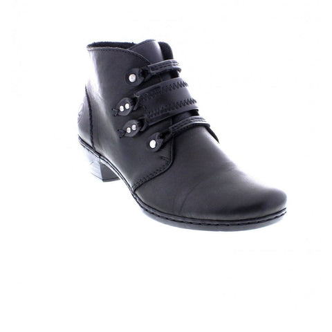 Mid Heel Ankle Boot With Leather Strap Trim