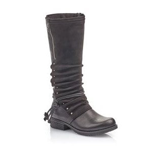 Knee High Low Heel Boot With Stud Zip And Lace Detail