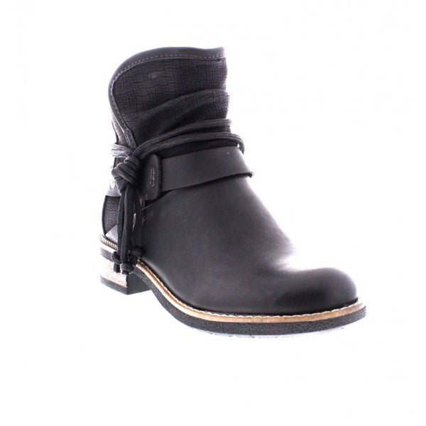 Low Heel Ankle Boot with Strap and Buckle Detail