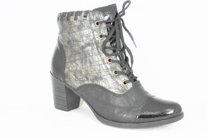 Lace Up Mid Heel Ankle Boot