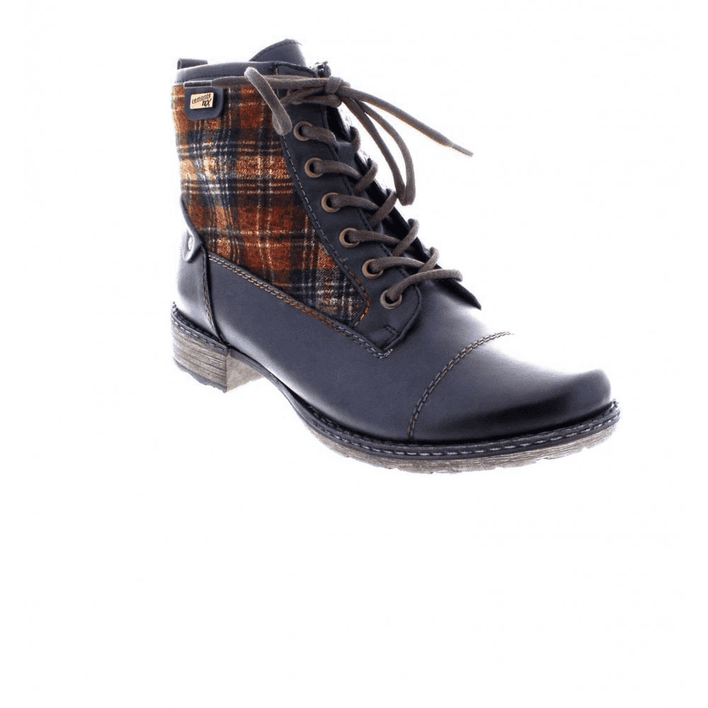 Tartan And Leather Lace Up Ankle Boot
