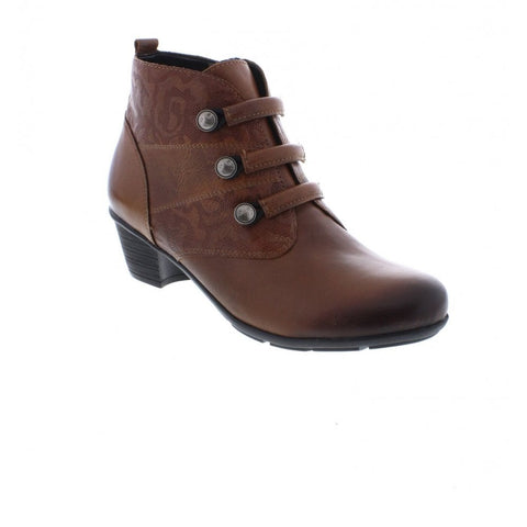 Mid Heel Ankle Boot With Strap Detail