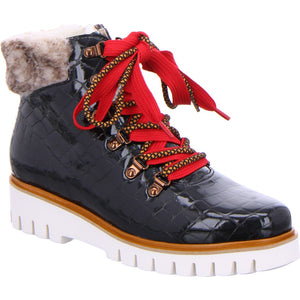 Jackson-Keil Lace Up Patent Croc Ankle Boot With Fur Cuff