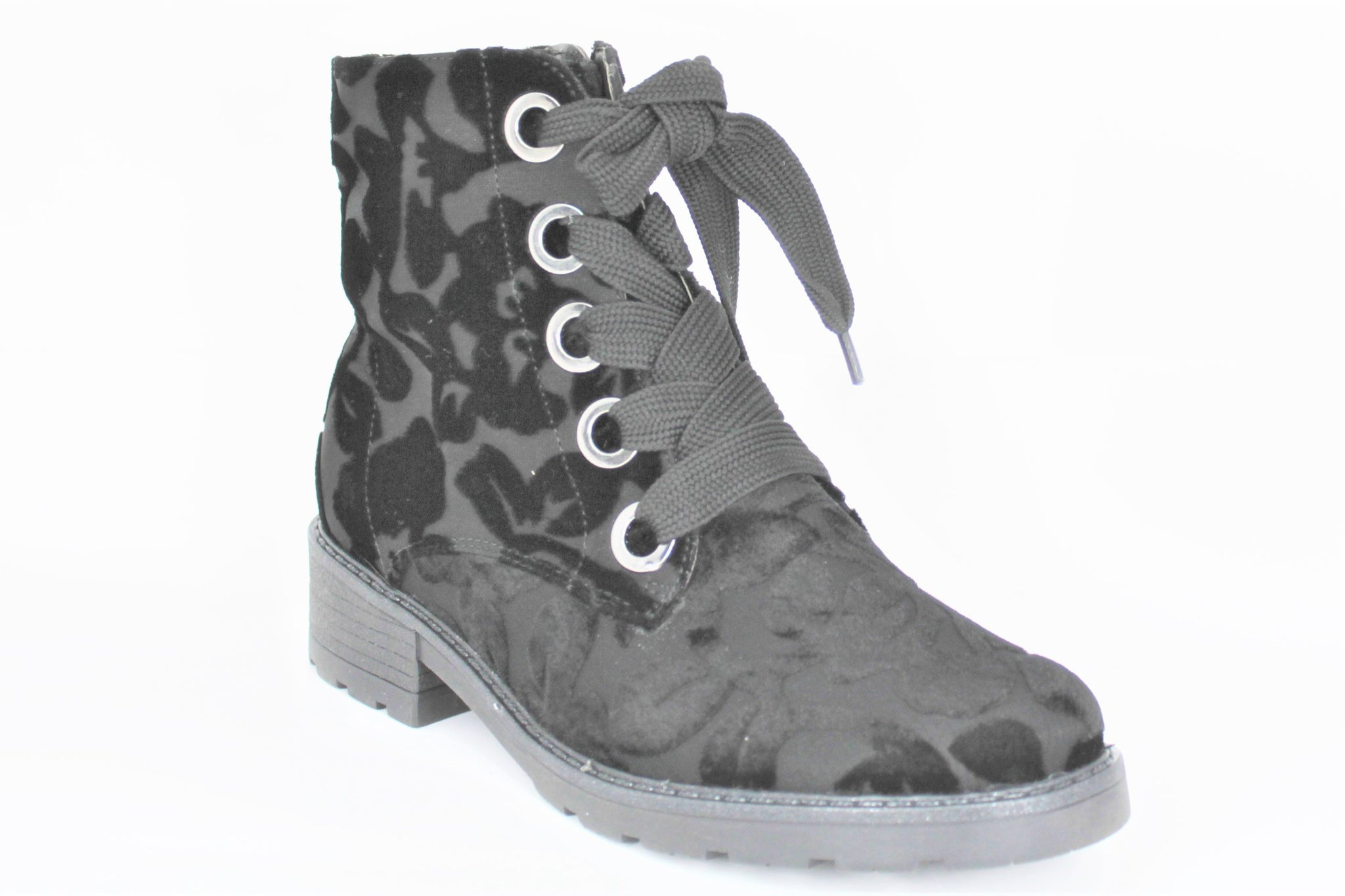 Dover Flower Pattern Lace Up Ankle Boot