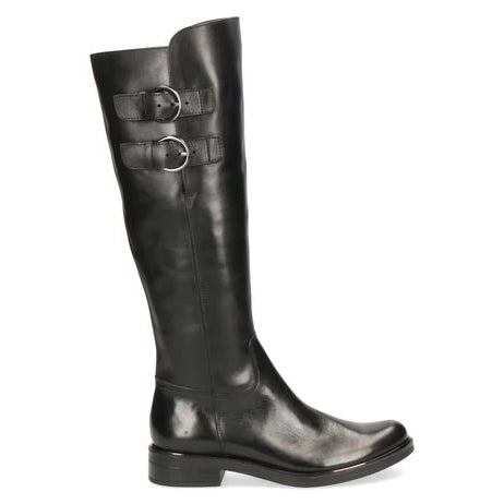 Low Heel Knee High Leather Boot With Strap Detail