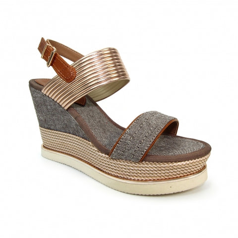 Lunar Ladies Laurel High wedge Sandal Kharki