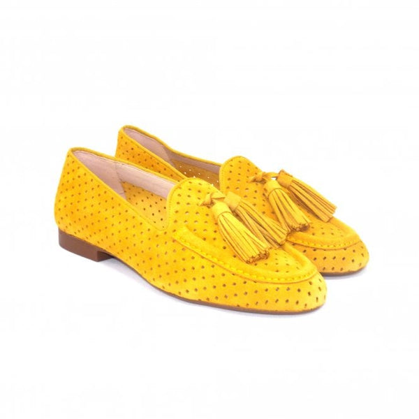 SKA Ladies Zaire Nubuck Slip On Loafer Shoe Yellow