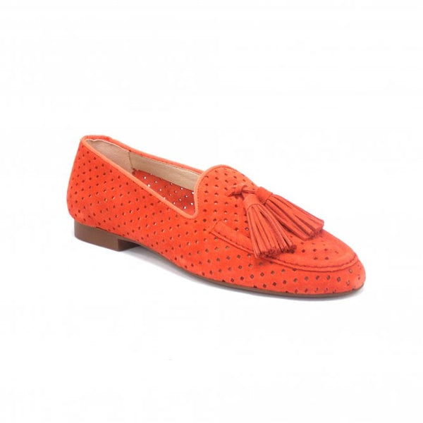 SKA Ladies Zaire Nubuck Slip On Loafer Shoe Coral